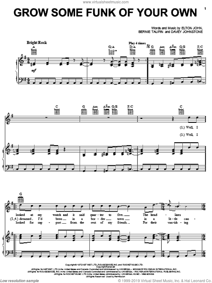 Grow Some Funk Of Your Own sheet music for voice, piano or guitar by Davey Johnstone, Bernie Taupin and Elton John. Score Image Preview.