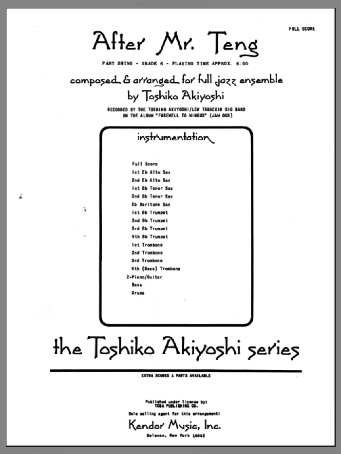 After Mr. Teng (COMPLETE) sheet music for jazz band by Toshiko Akiyoshi, intermediate skill level