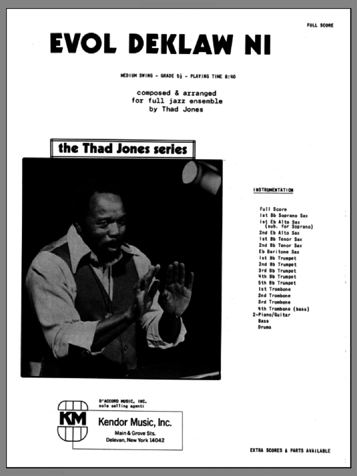 Evol Deklaw Ni (COMPLETE) sheet music for jazz band by Thad Jones, intermediate. Score Image Preview.