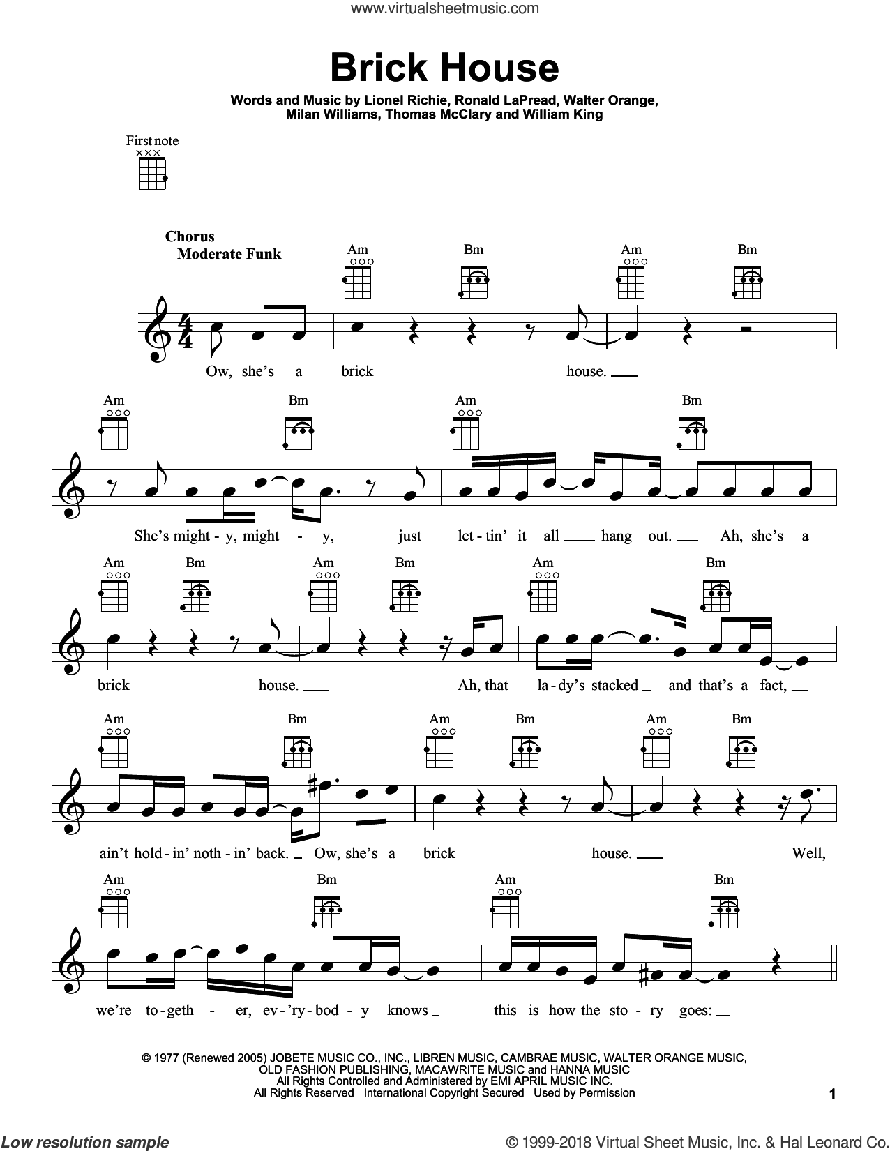 Brick House sheet music for ukulele by Lionel Richie, The Commodores, Milan Williams, Ronald LaPread, Thomas McClary, Walter Orange and William King, intermediate skill level