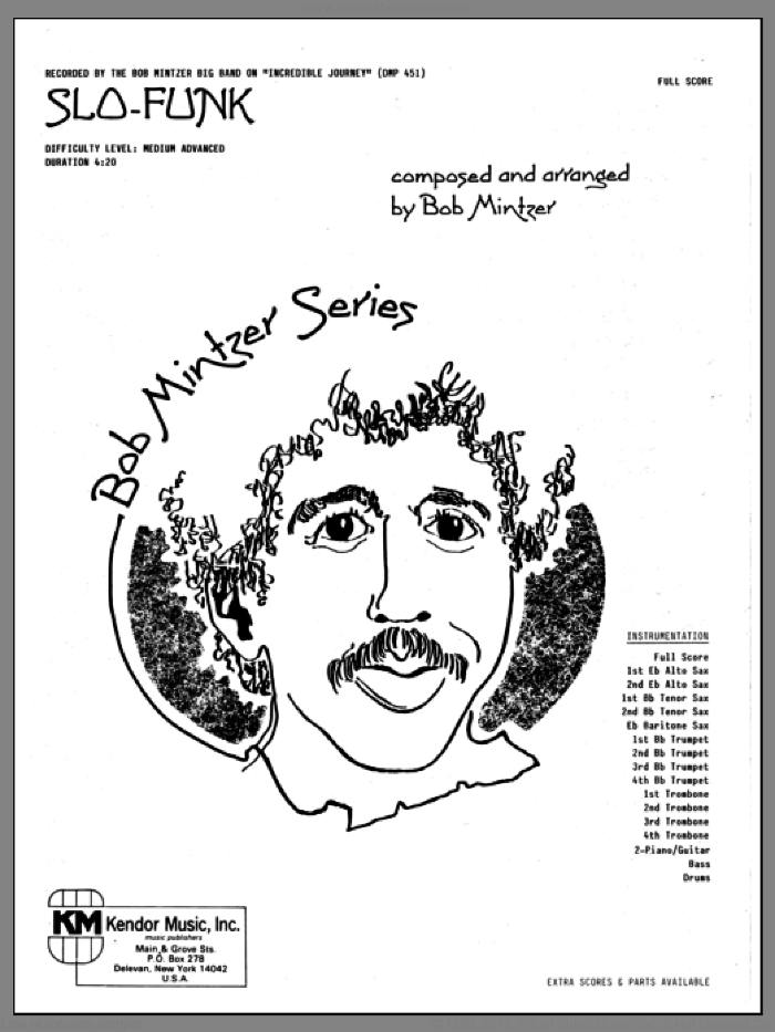 Slo-Funk (COMPLETE) sheet music for jazz band by Bob Mintzer, intermediate. Score Image Preview.