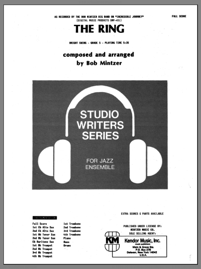 The Ring (COMPLETE) sheet music for jazz band by Bob Mintzer, intermediate skill level