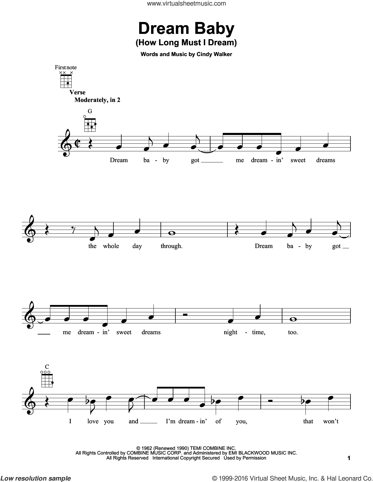 Dream Baby (How Long Must I Dream) sheet music for ukulele by Roy Orbison, Glen Campbell and Cindy Walker, intermediate