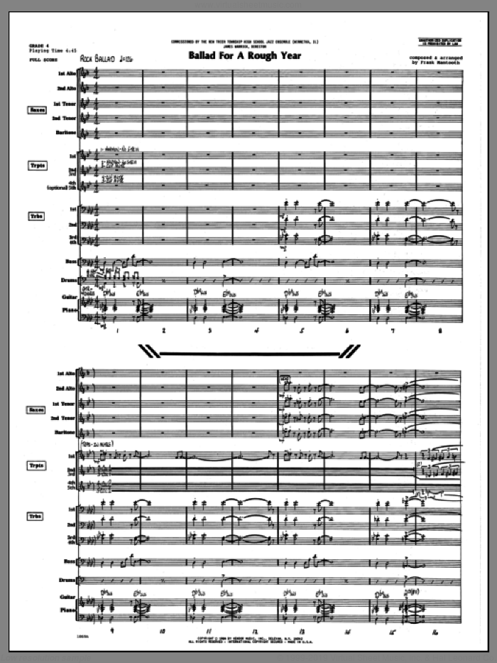 Ballad For A Rough Year (COMPLETE) sheet music for jazz band by Frank Mantooth, intermediate skill level