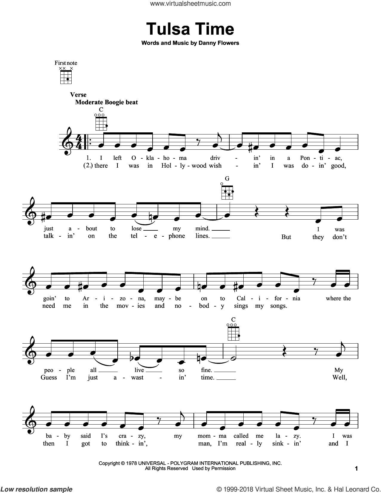 Tulsa Time sheet music for ukulele by Don Williams, Eric Clapton and Danny Flowers, intermediate skill level