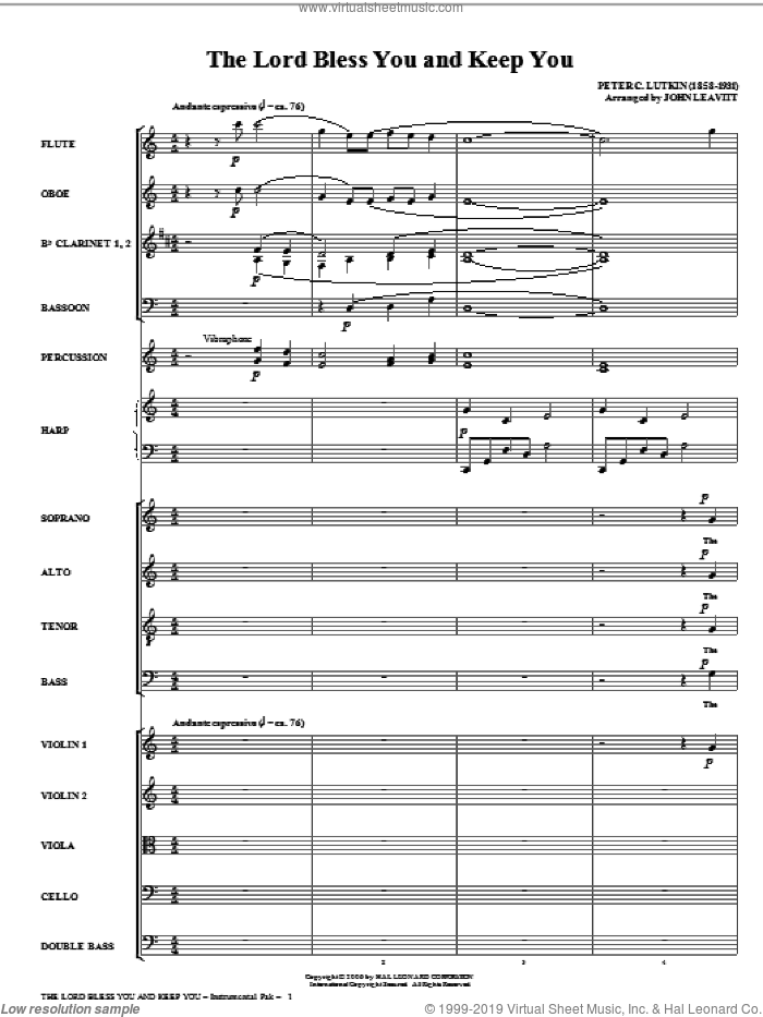 The Lord Bless You And Keep You (complete set of parts) sheet music for orchestra/band (Orchestra) by Peter Lutkin and John Leavitt, intermediate. Score Image Preview.