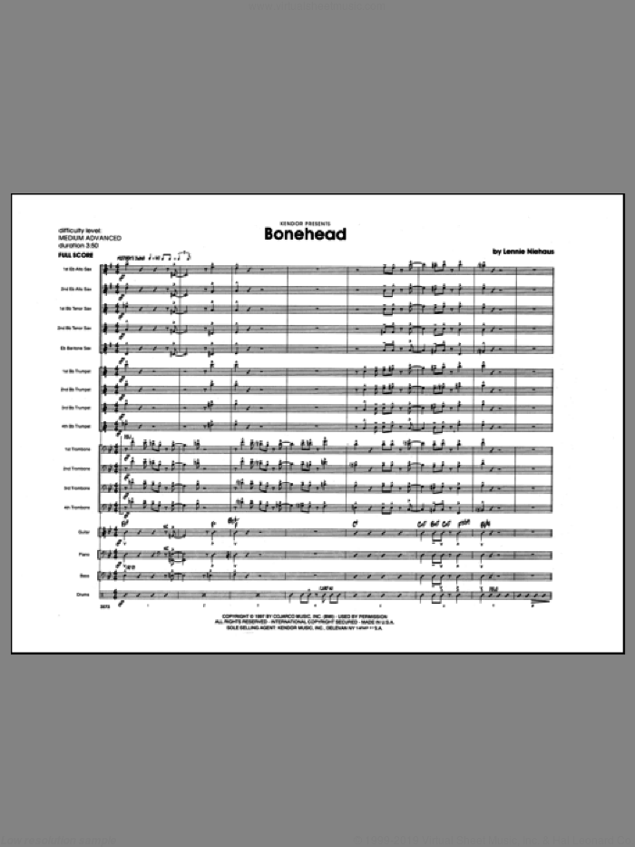 Bonehead (COMPLETE) sheet music for jazz band by Lennie Niehaus, intermediate. Score Image Preview.