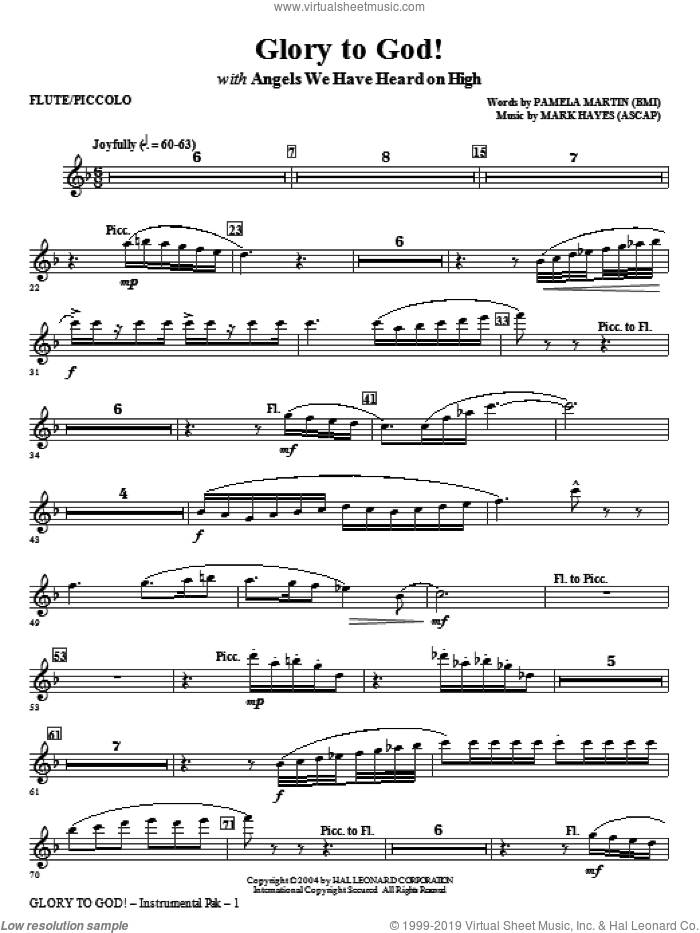 Glory to God! sheet music for orchestra/band (flute/piccolo) by Mark Hayes and Pamela Martin, intermediate skill level