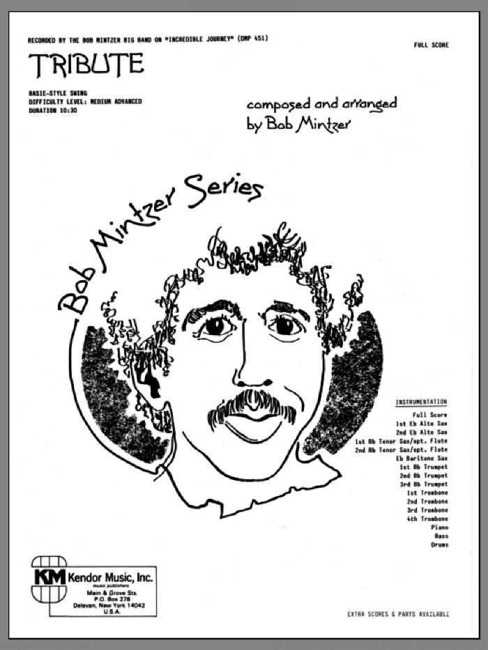 Tribute (COMPLETE) sheet music for jazz band by Bob Mintzer, intermediate skill level