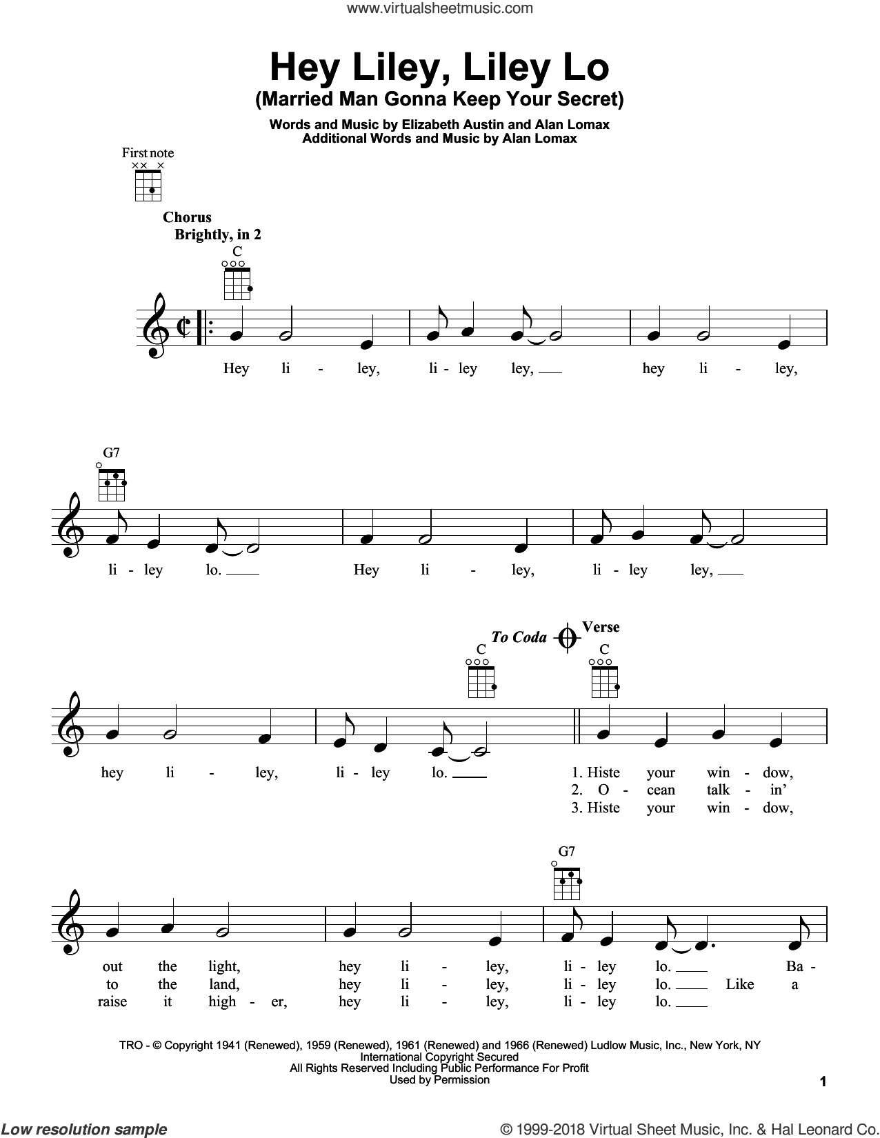 Hey Liley, Liley Lo (Married Man Gonna Keep Your Secret) sheet music for ukulele by Elizabeth Austin and John A. Lomax, intermediate skill level