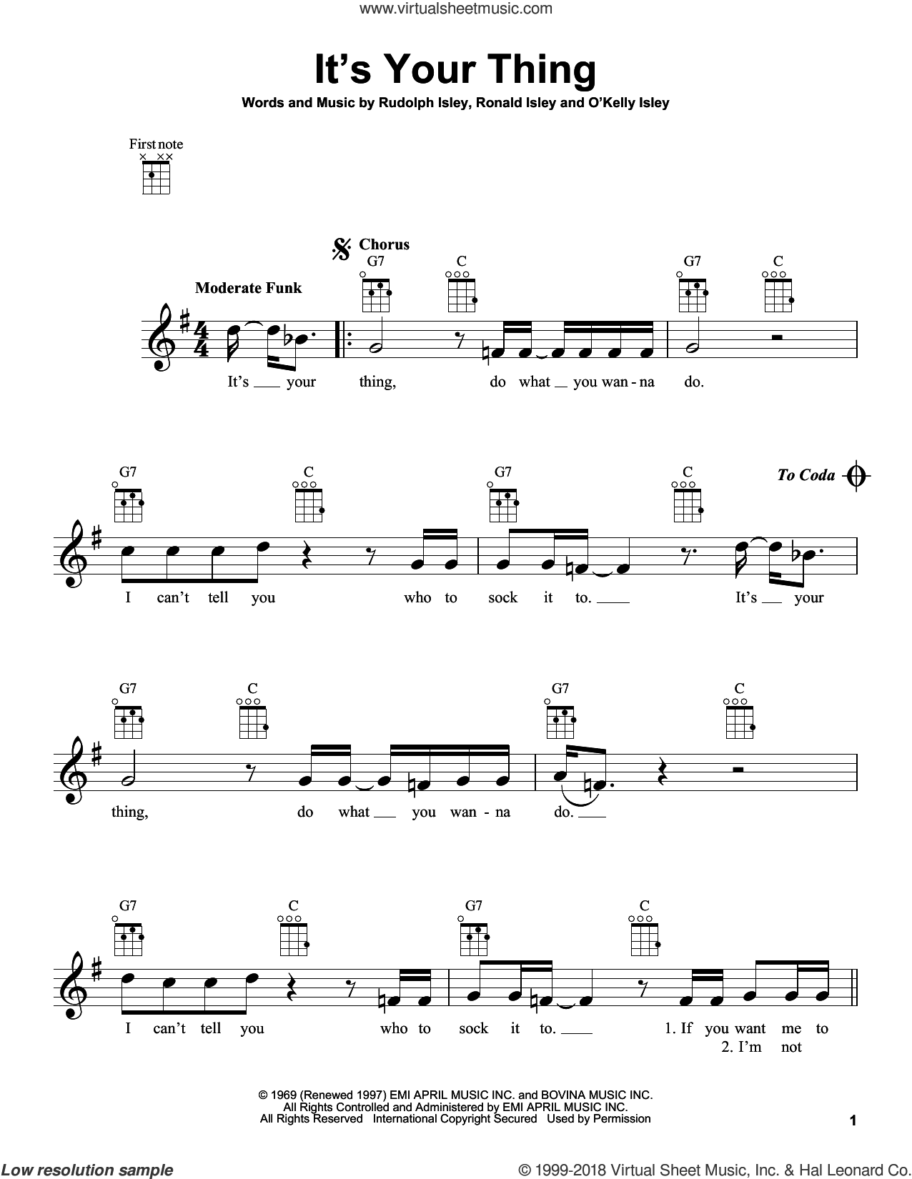 It's Your Thing sheet music for ukulele by The Isley Brothers, Salt-N-Pepa, O Kelly Isley, Ronald Isley and Rudolph Isley, intermediate skill level