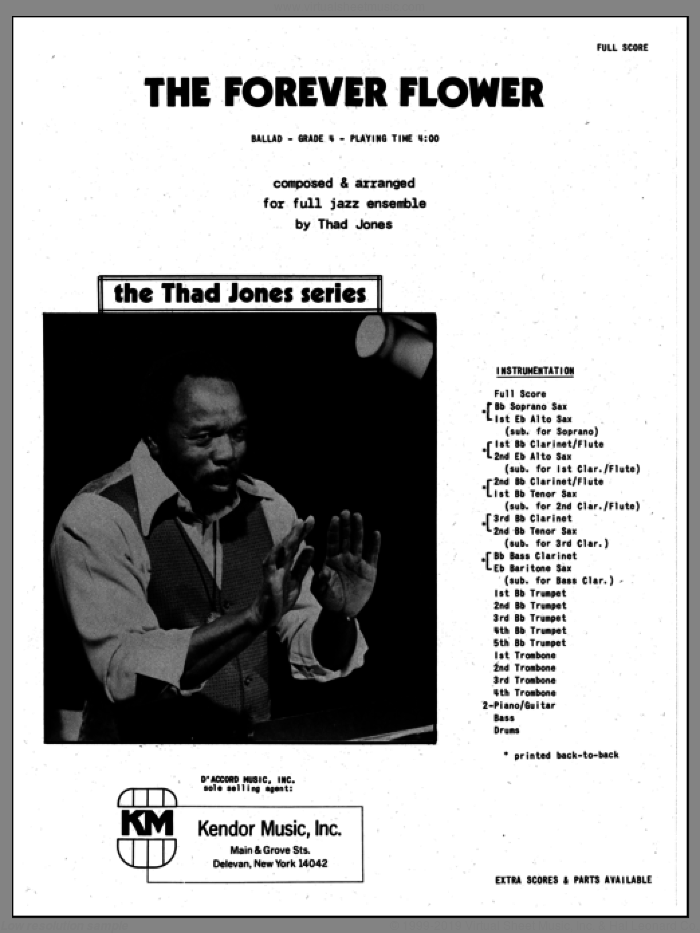 The Forever Flower (COMPLETE) sheet music for jazz band by Thad Jones, intermediate jazz band. Score Image Preview.