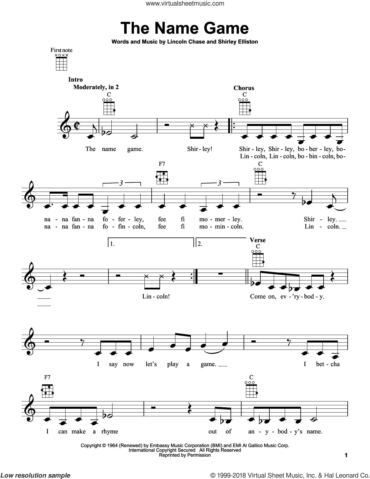 The Name Game sheet music for ukulele by Shirley Ellis, Lincoln Chase and Shirley Elliston, intermediate. Score Image Preview.