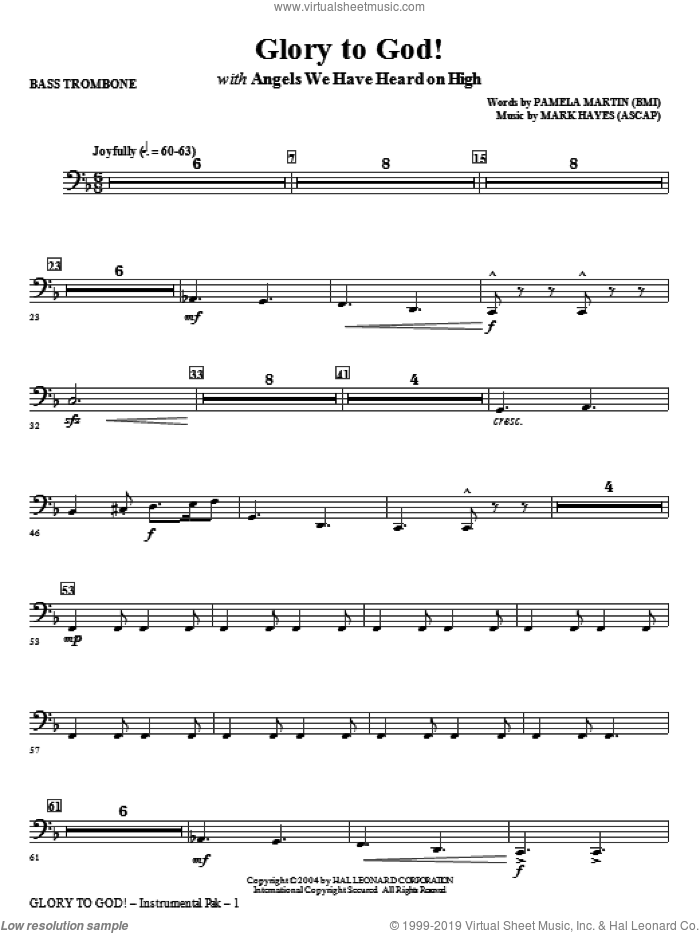 Glory to God! sheet music for orchestra/band (bass trombone) by Mark Hayes and Pamela Martin, intermediate skill level