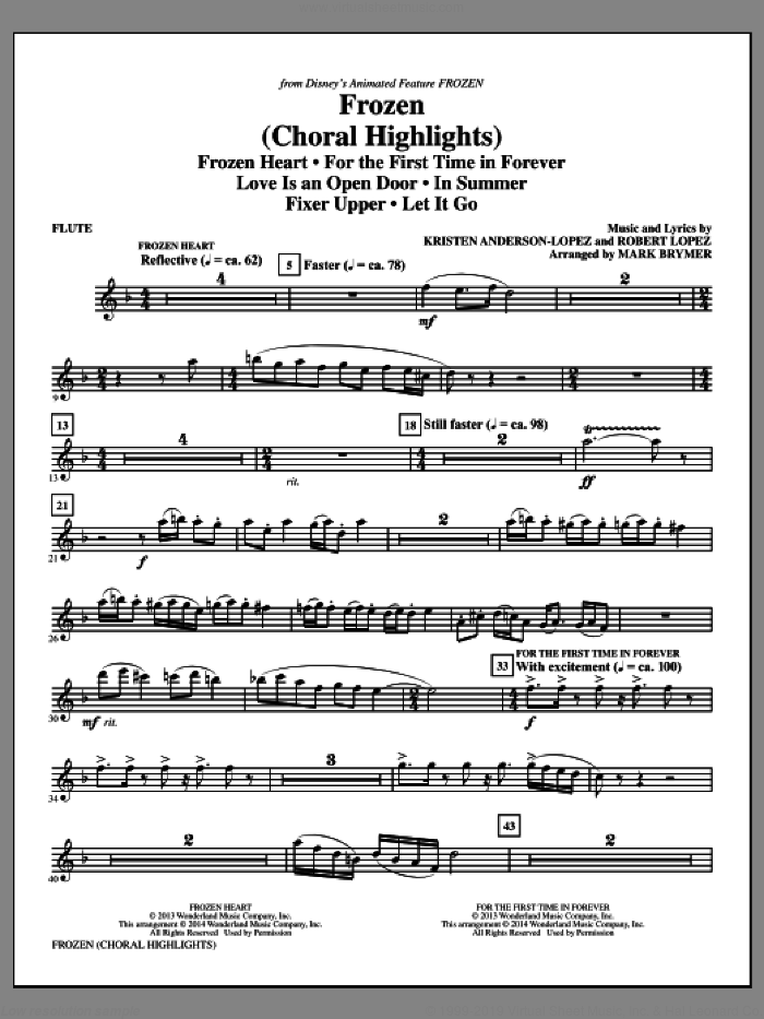 Frozen (Choral Highlights) (complete set of parts) sheet music for orchestra/band by Mark Brymer, Kristen Anderson-Lopez and Robert Lopez, intermediate orchestra/band. Score Image Preview.