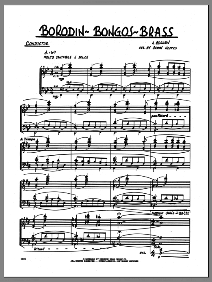 Borodin-Bongos-Brass (COMPLETE) sheet music for jazz band by Sammy Nestico and Alexander Borodin, intermediate. Score Image Preview.