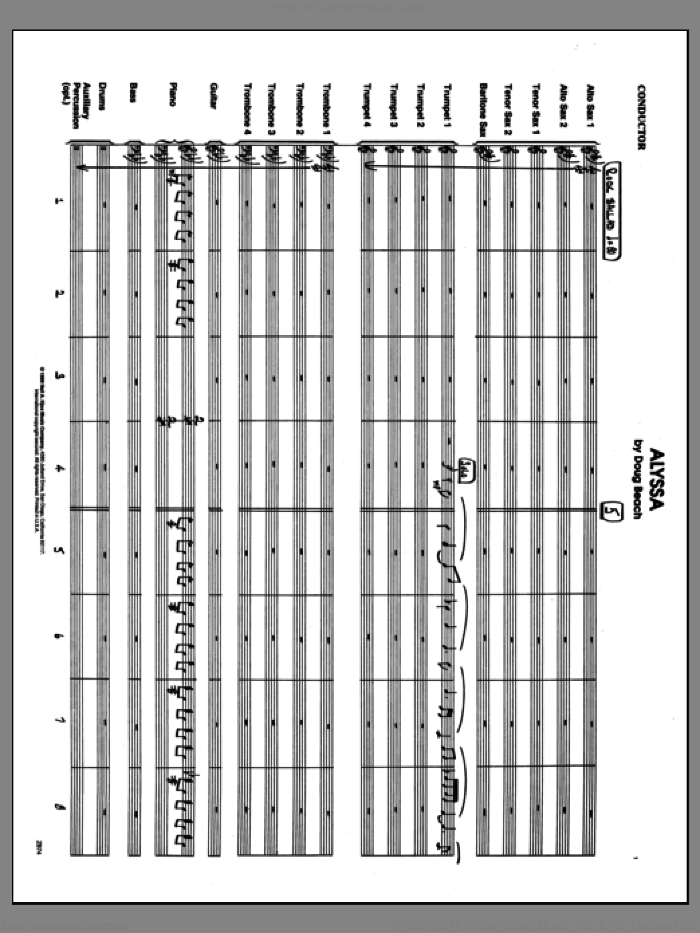 Alyssa (COMPLETE) sheet music for jazz band by Doug Beach, intermediate jazz band. Score Image Preview.