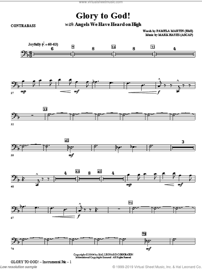 Glory to God! sheet music for orchestra/band (contrabass) by Mark Hayes and Pamela Martin, intermediate skill level