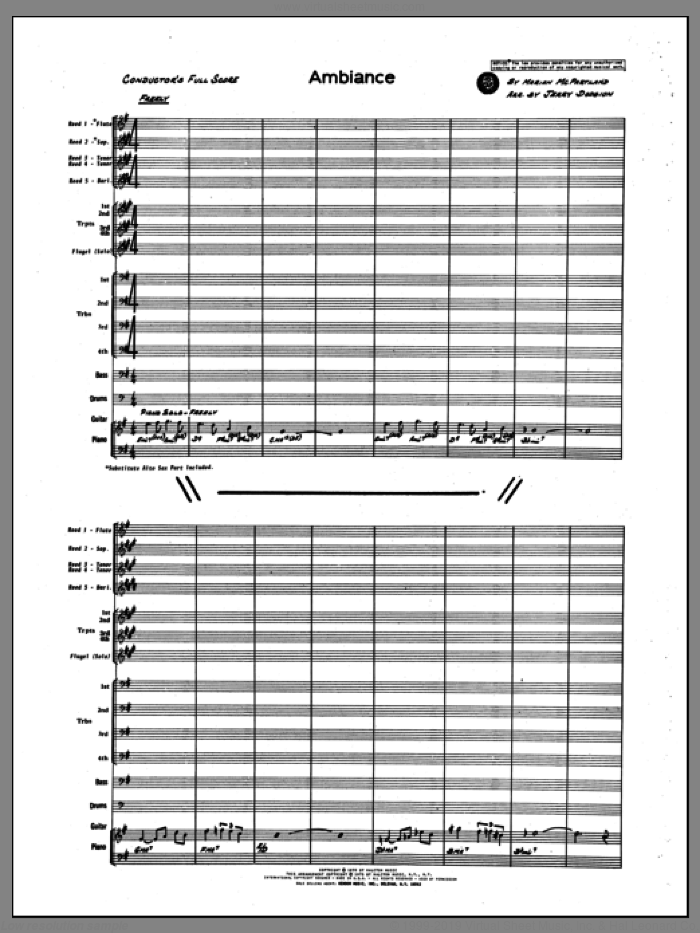 Ambiance (COMPLETE) sheet music for jazz band by Marian McPartland, intermediate. Score Image Preview.
