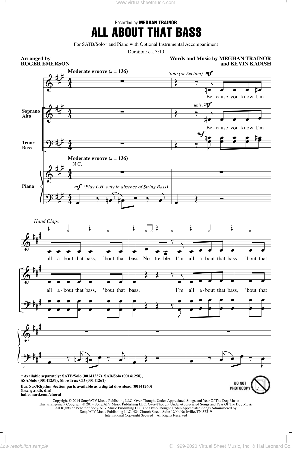 All About That Bass sheet music for choir (SATB) by Kevin Kadish, Roger Emerson and Meghan Trainor. Score Image Preview.