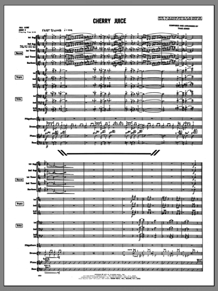 Cherry Juice (COMPLETE) sheet music for jazz band by Thad Jones, intermediate skill level