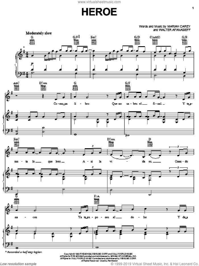 Heroe sheet music for voice, piano or guitar by Walter Afanasieff