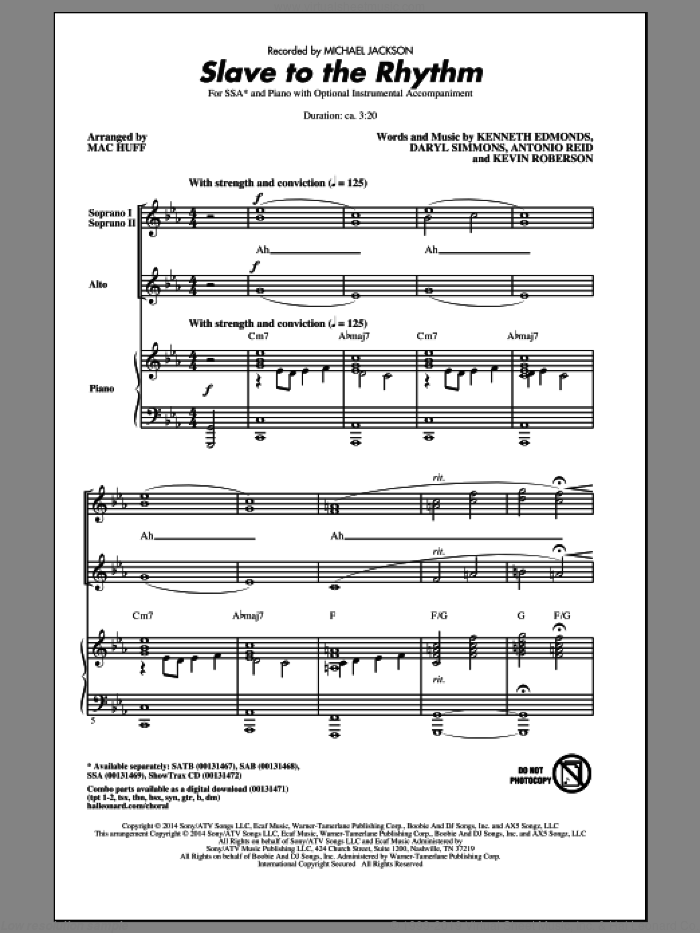 Slave To The Rhythm sheet music for choir (SSA: soprano, alto) by Mac Huff, Michael Jackson, Antonio Reid, Daryl Simmons, Kenneth Edmonds and Kevin Roberson, intermediate