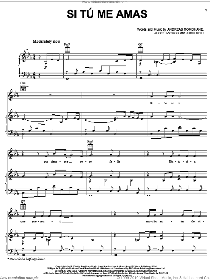Si Tu Me Amas sheet music for voice, piano or guitar by Il Divo, Andreas Romdhane, John Reid and Josef Larossi, intermediate skill level
