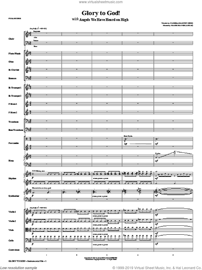 Glory To God! (complete set of parts) sheet music for orchestra/band (Orchestra) by Mark Hayes, Christmas carol score, intermediate orchestra. Score Image Preview.
