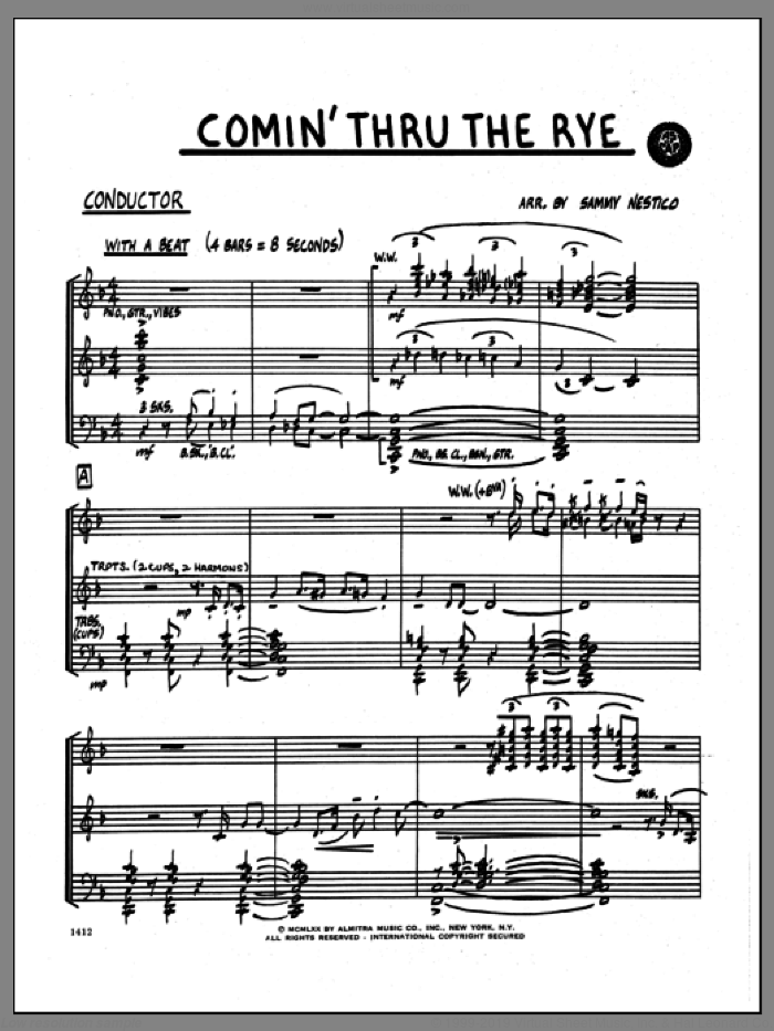 Comin' Through The Rye (COMPLETE) sheet music for jazz band by Sammy Nestico, intermediate skill level