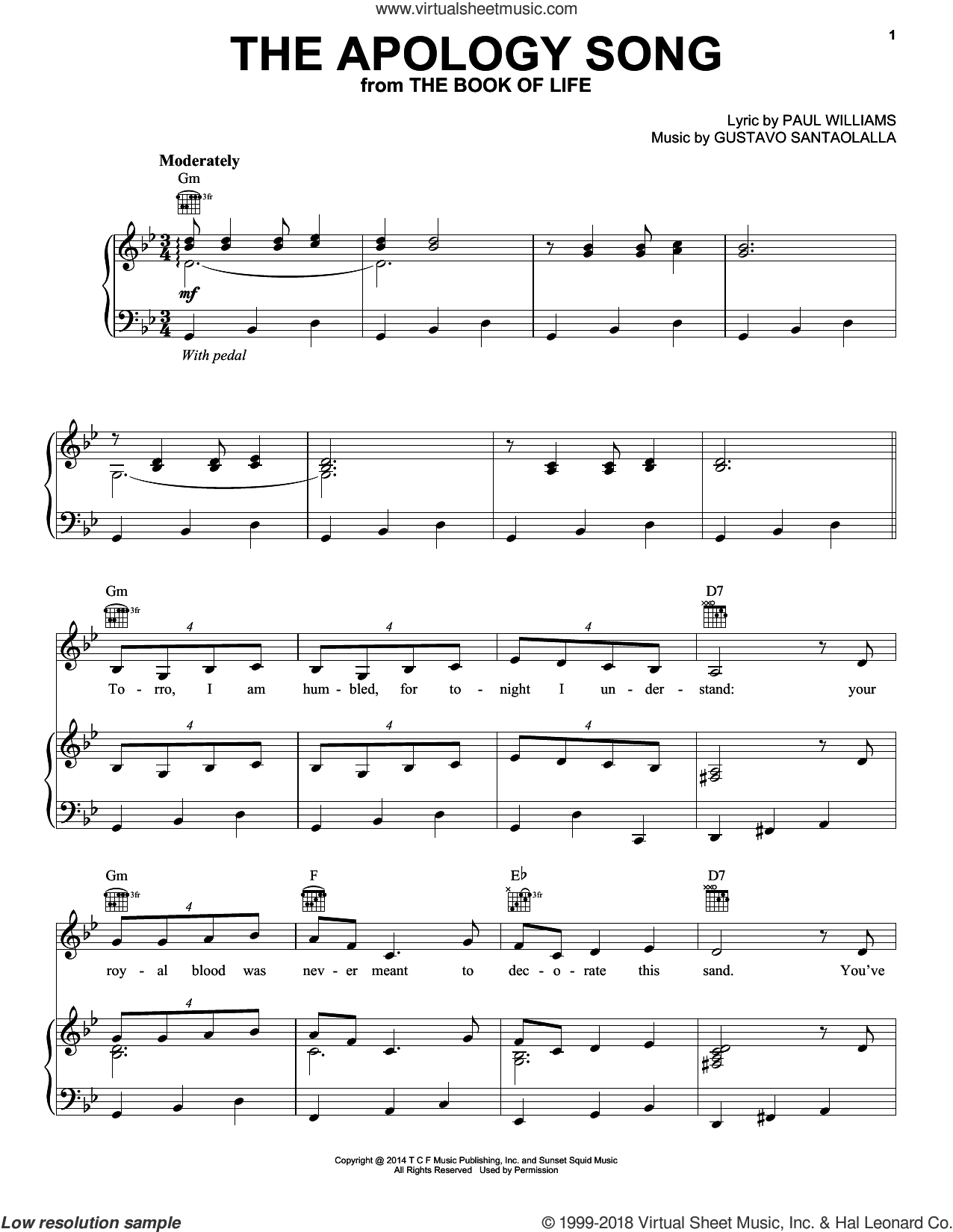 The Apology Song sheet music for voice, piano or guitar by Gustavo Santaolalla and Paul Williams, intermediate skill level