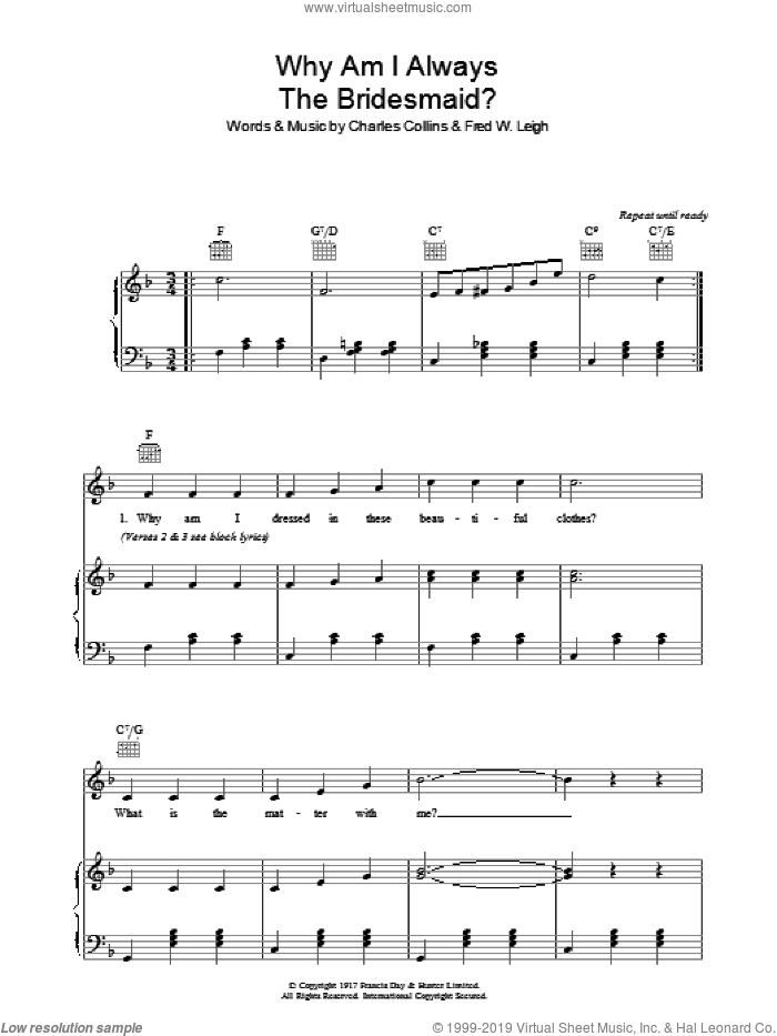 Why Am I Always The Bridesmaid? sheet music for voice, piano or guitar by Fred W. Leigh and Charles Collins. Score Image Preview.