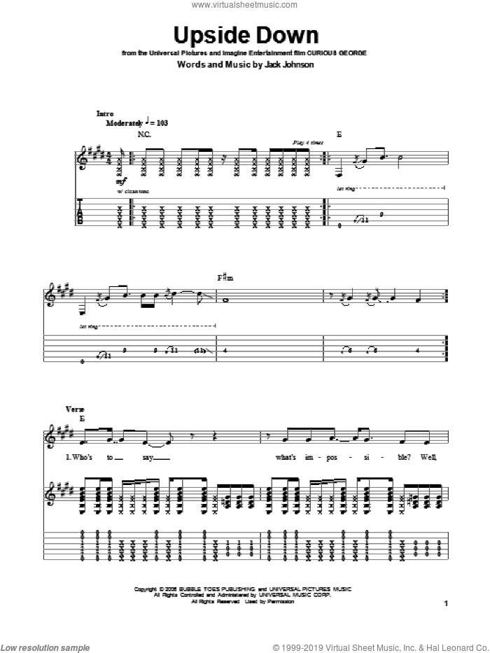 Upside Down sheet music for guitar (tablature, play-along) by Jack Johnson, intermediate. Score Image Preview.