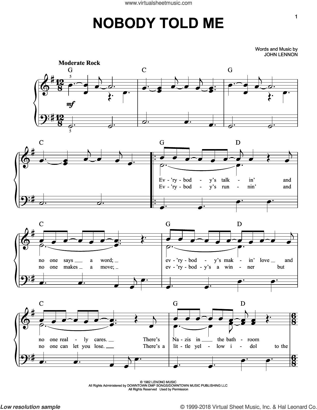 Nobody Told Me sheet music for piano solo by John Lennon, easy skill level