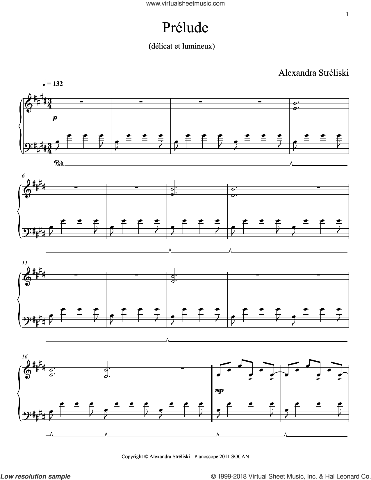 Prelude sheet music for piano solo by Alexandra Streliski, classical score, intermediate skill level