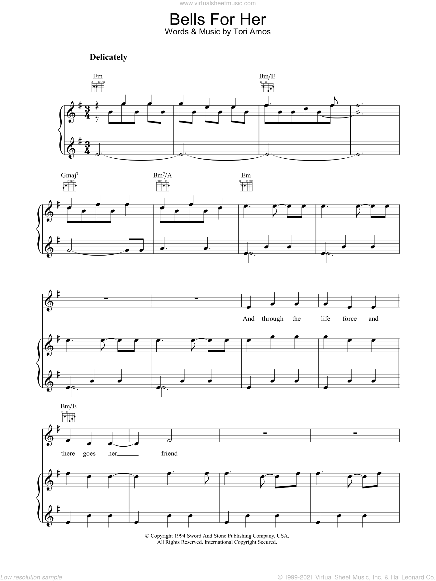 Bells For Her sheet music for voice, piano or guitar by Tori Amos, intermediate. Score Image Preview.
