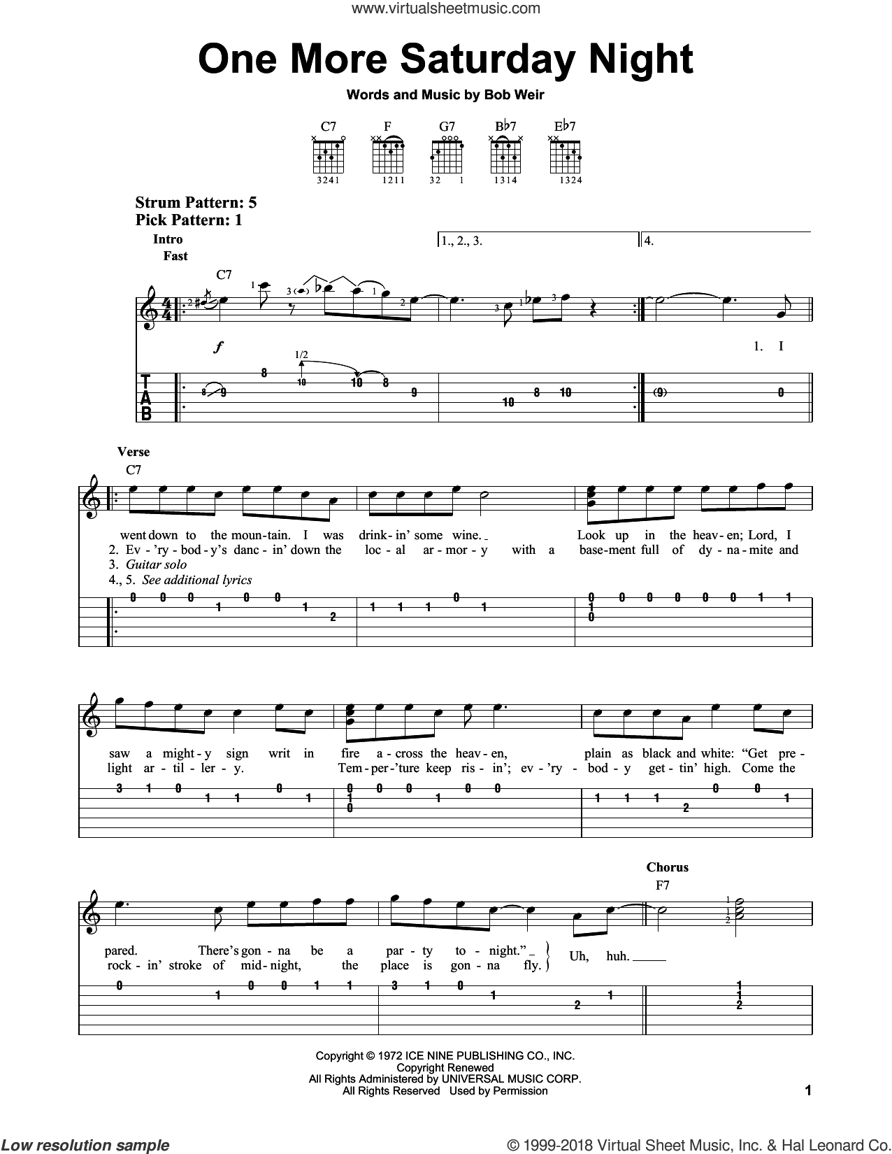One More Saturday Night sheet music for guitar solo (easy tablature) by Grateful Dead and Bob Weir, easy guitar (easy tablature)
