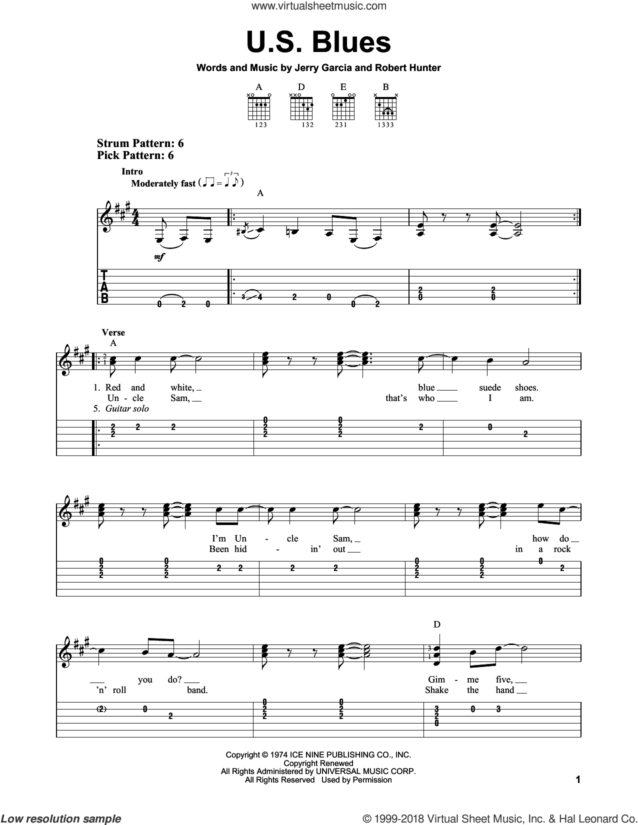 U.S. Blues sheet music for guitar solo (easy tablature) by Grateful Dead, Jerry Garcia and Robert Hunter, easy guitar (easy tablature)