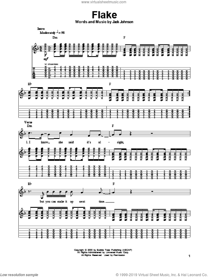 Flake sheet music for guitar (tablature, play-along) by Jack Johnson, intermediate skill level