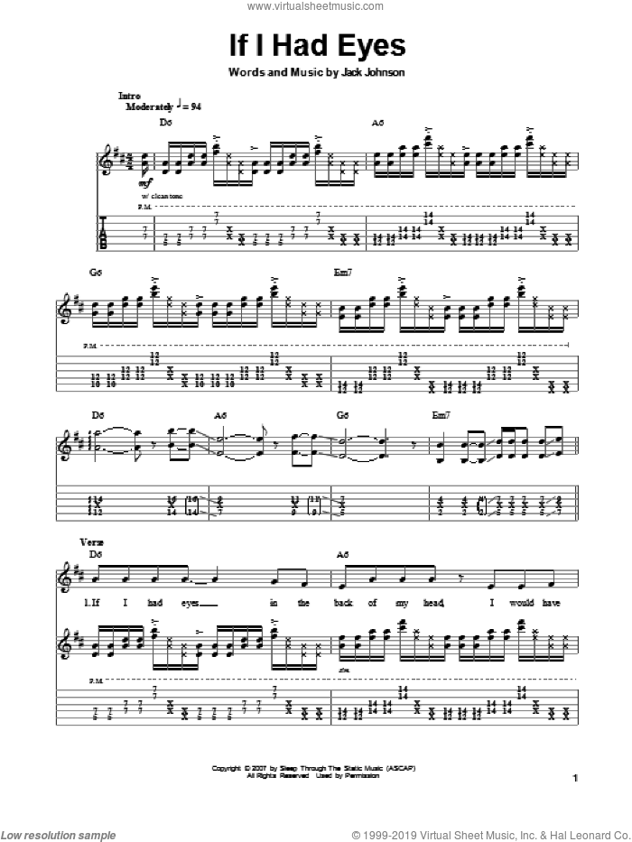 If I Had Eyes sheet music for guitar (tablature, play-along) by Jack Johnson. Score Image Preview.