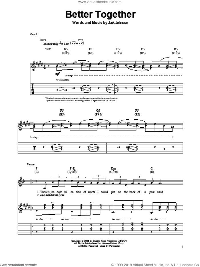 Better Together sheet music for guitar (tablature, play-along) by Jack Johnson. Score Image Preview.