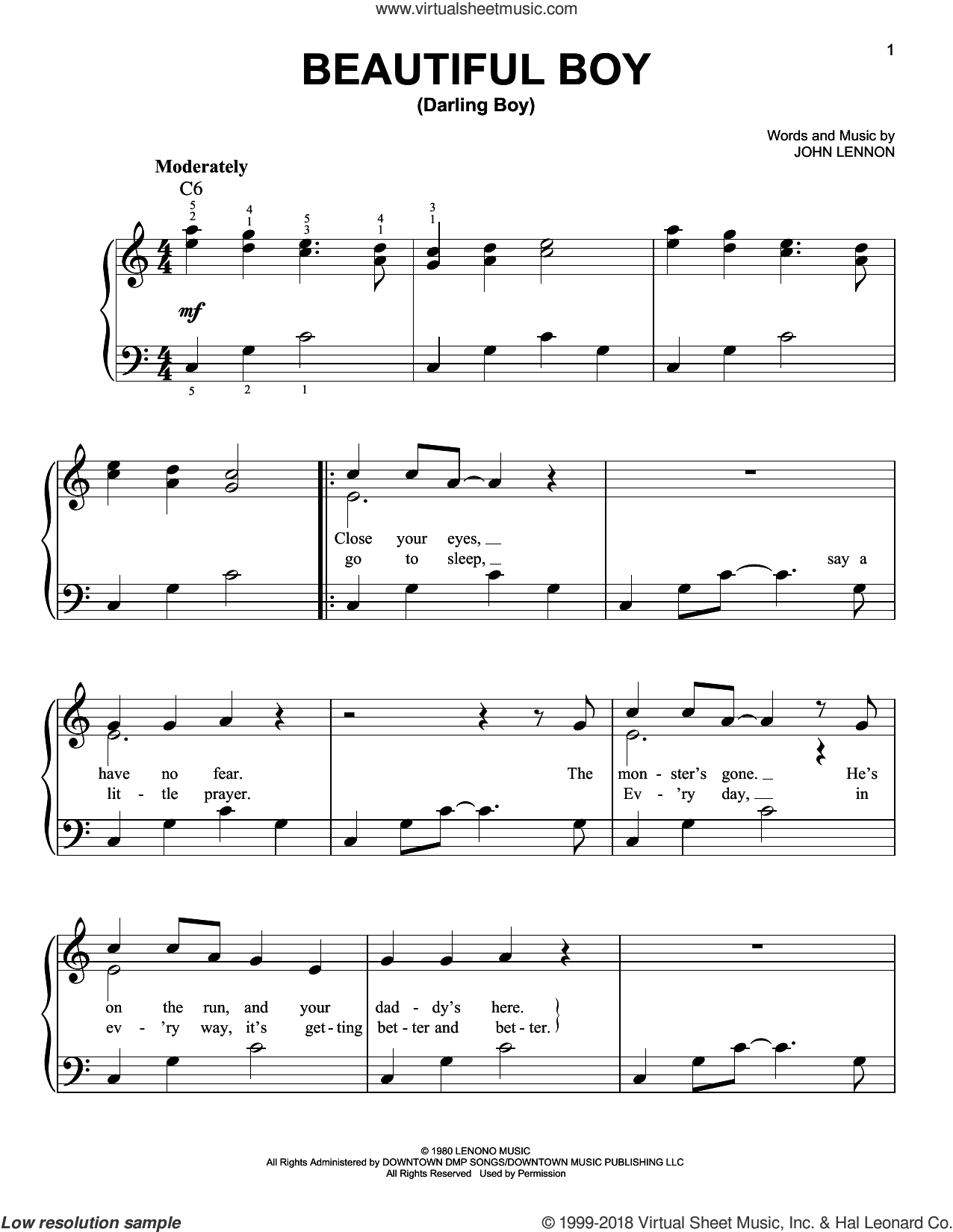 Beautiful Boy (Darling Boy) sheet music for piano solo by John Lennon, easy skill level