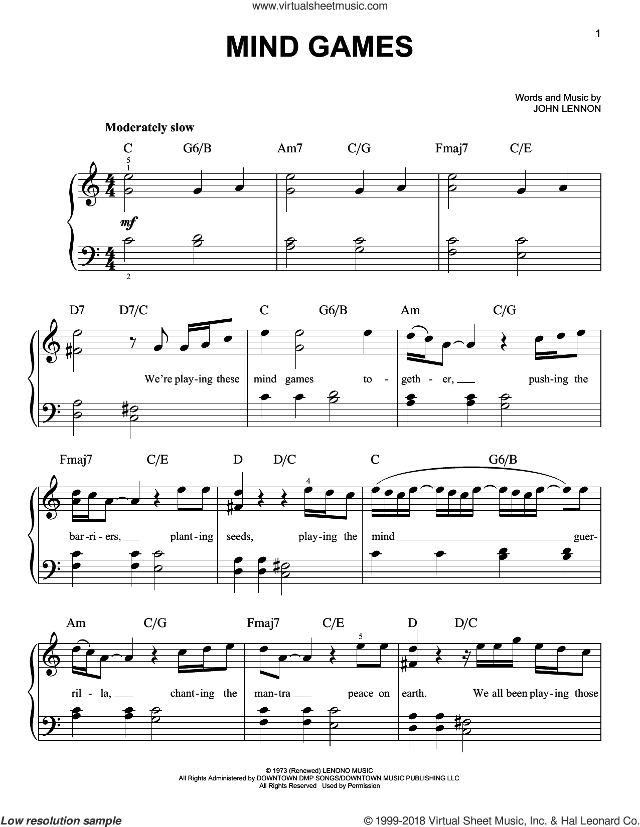Mind Games sheet music for piano solo by John Lennon, easy piano. Score Image Preview.