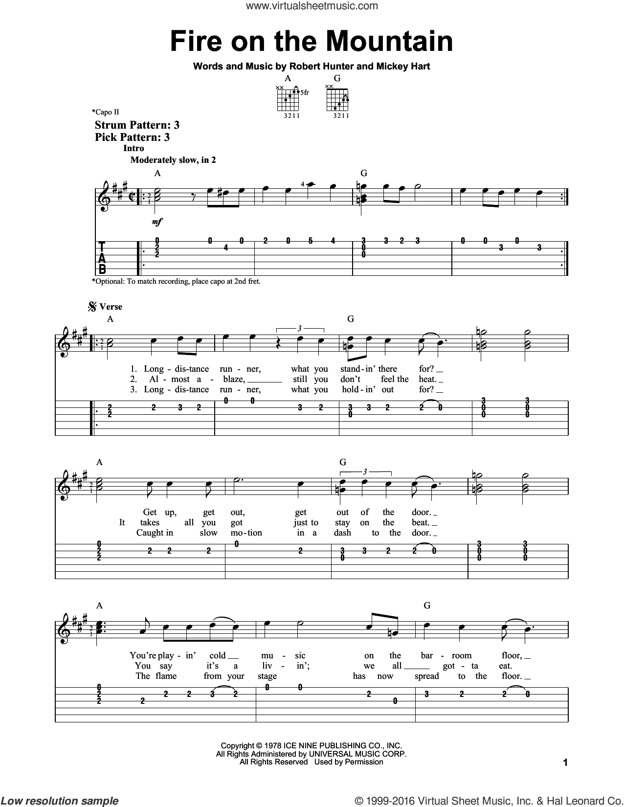 Fire On The Mountain sheet music for guitar solo (easy tablature) by Grateful Dead, Mickey Hart and Robert Hunter, easy guitar (easy tablature)
