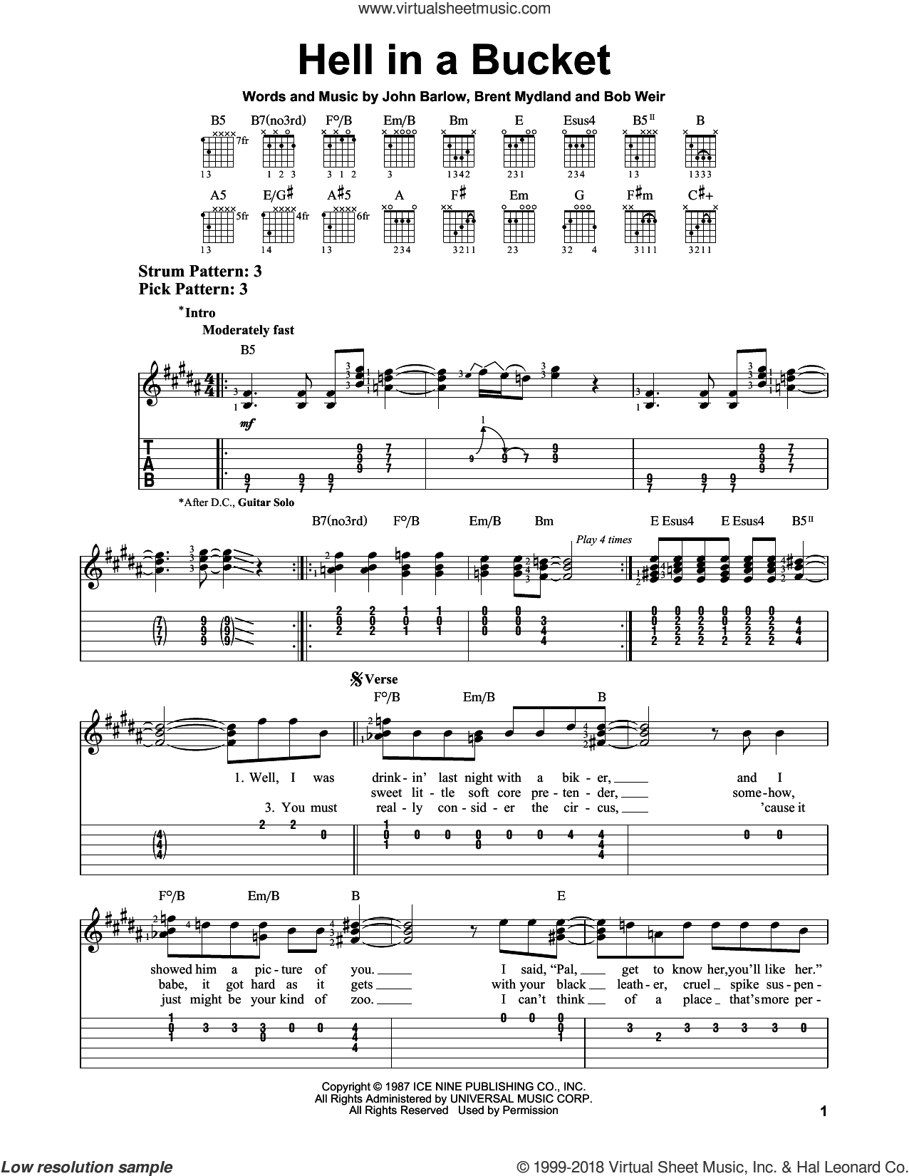 Hell In A Bucket sheet music for guitar solo (easy tablature) by John Barlow, Grateful Dead, Bob Weir and Brent Mydland. Score Image Preview.