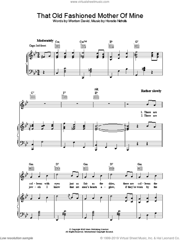That Old Fashioned Mother Of Mine sheet music for voice, piano or guitar by Worton David and Horatio Nicholls. Score Image Preview.