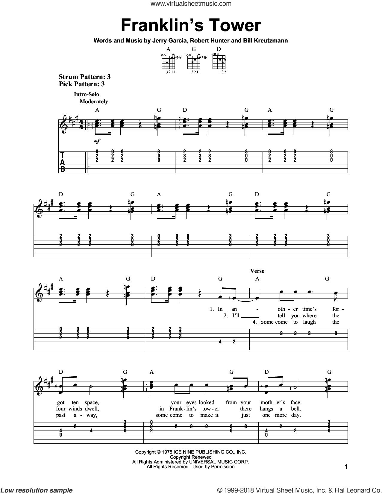 Franklin's Tower sheet music for guitar solo (easy tablature) by Robert Hunter and Grateful Dead. Score Image Preview.