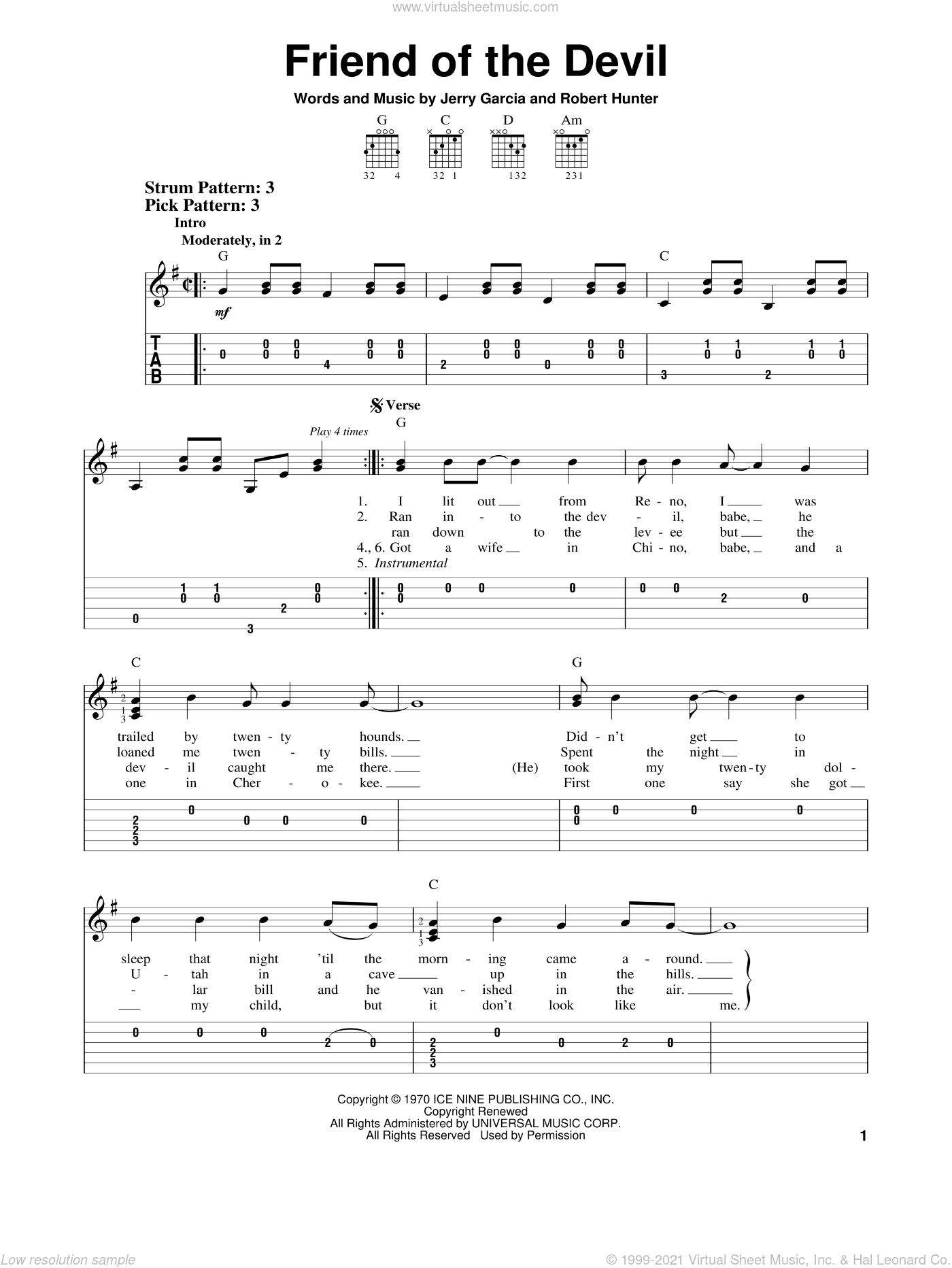 Friend Of The Devil sheet music for guitar solo (easy tablature) by Robert Hunter and Grateful Dead. Score Image Preview.