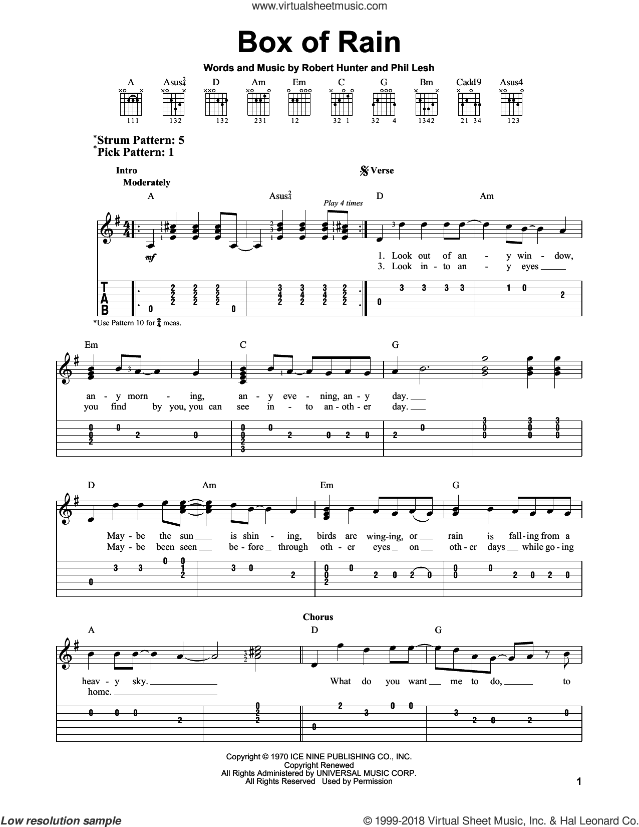 Box Of Rain sheet music for guitar solo (easy tablature) by Grateful Dead, Phil Lesh and Robert Hunter, easy guitar (easy tablature)