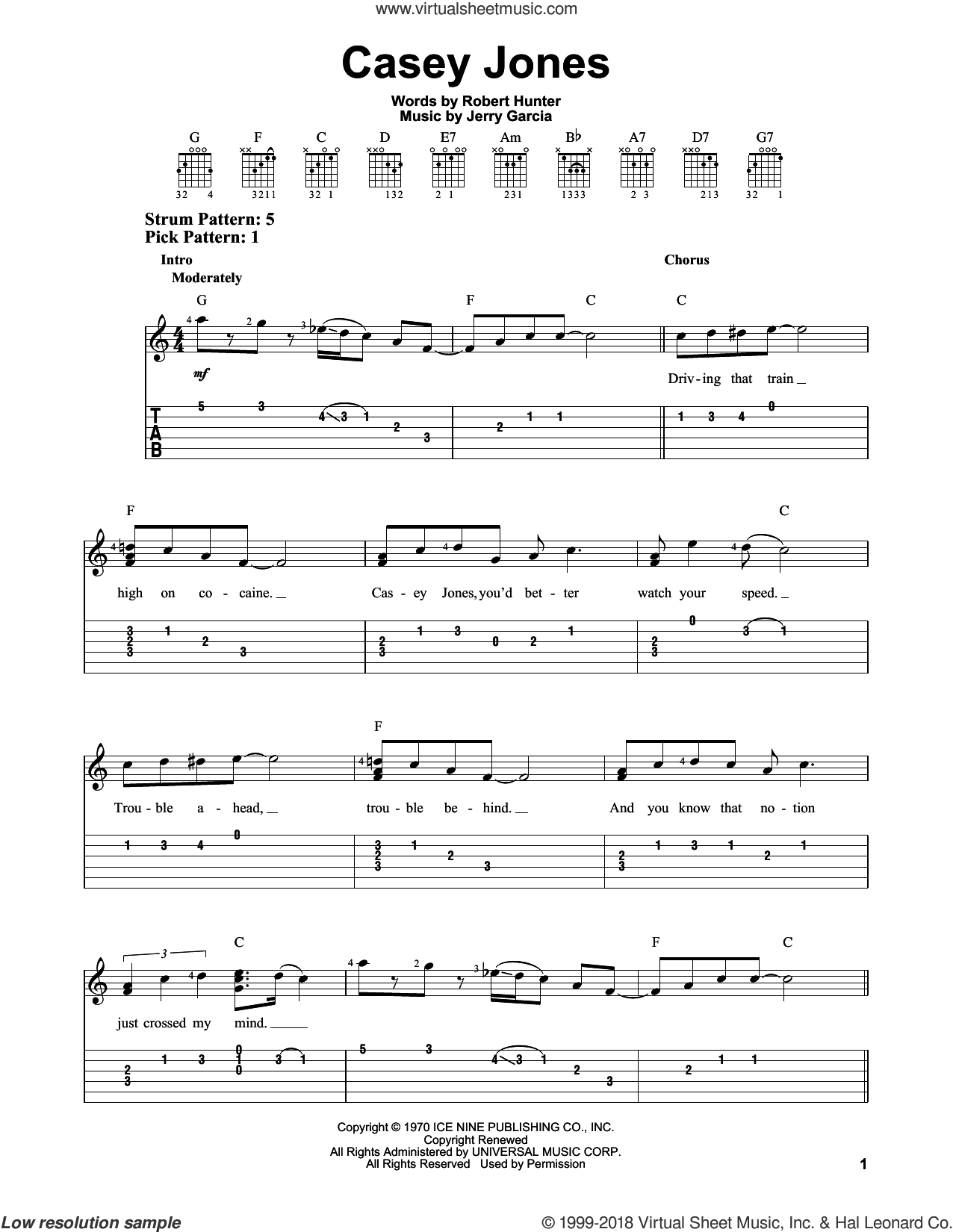 Casey Jones sheet music for guitar solo (easy tablature) by Grateful Dead, Jerry Garcia and Robert Hunter, easy guitar (easy tablature)